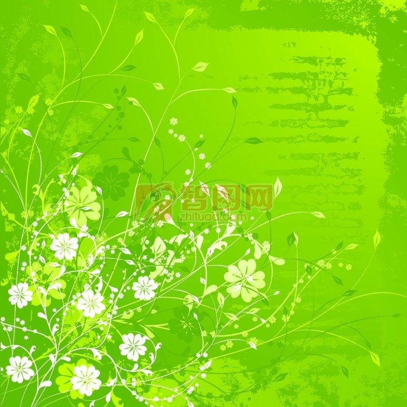 绿色背景 白色花纹