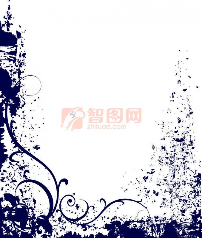 深藍色花紋邊框