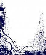 深蓝色花纹边框
