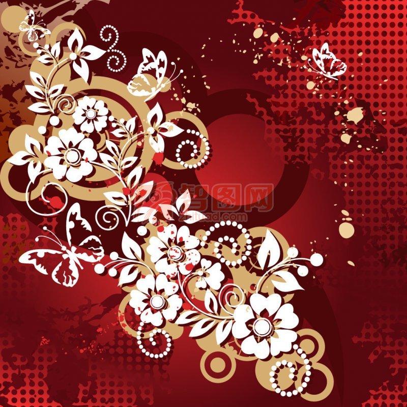 关键词: 红色背景 白色花纹 白色蝴蝶 矢量花纹素材 说明:-欧式花纹