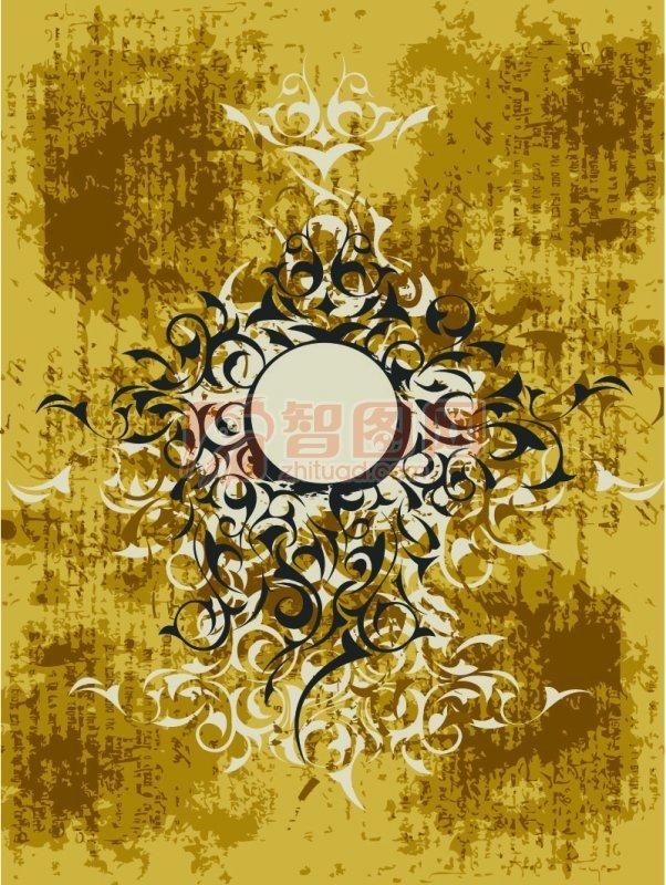 花纹花边  关键词: 土黄色背景