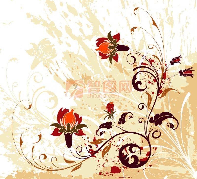 咖啡色花紋