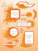 橘色花纹边框