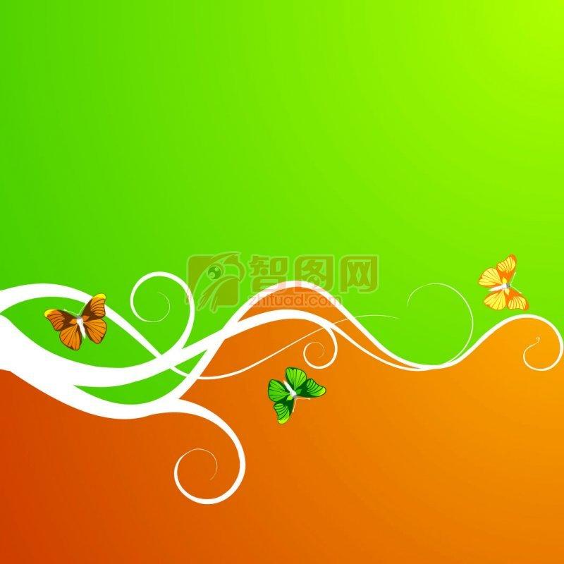 绿色橘色花纹