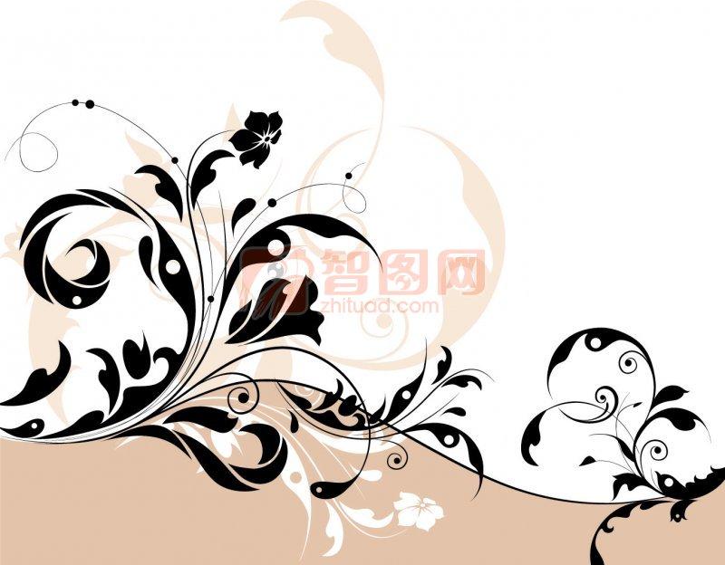 花纹花边  关键词: 粉色白色背景 黑色花纹 矢量花纹素材 说明:-欧式