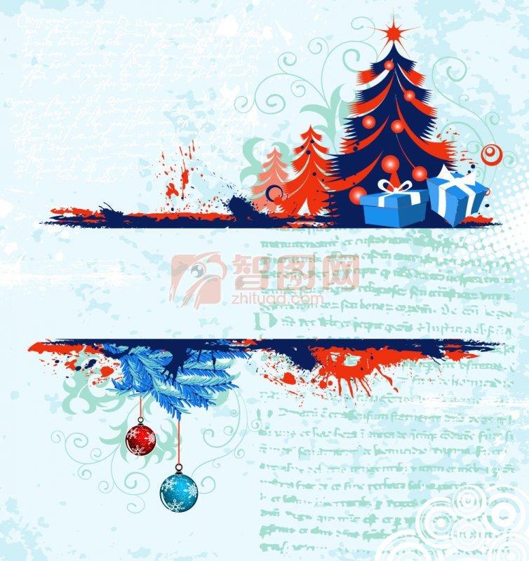 圣诞树花纹边框