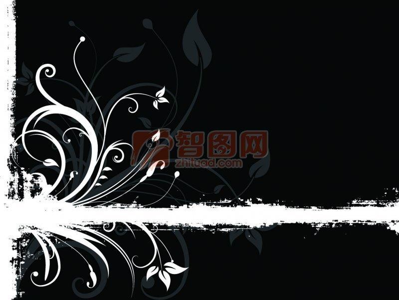黑色花纹图