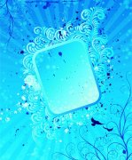 藍色花紋邊框