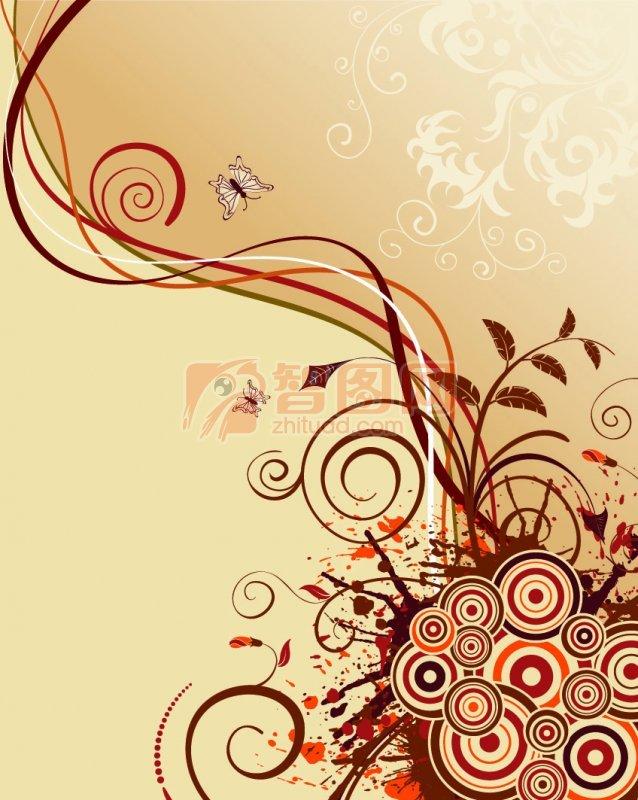 咖啡色欧式花纹