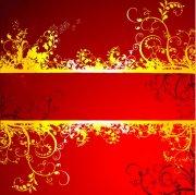 红色欧式花纹