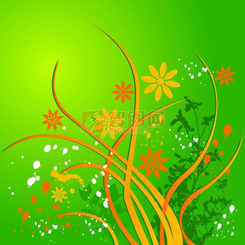 底纹边框 花纹花边  关键词: 绿色背景 橘色花纹 白色墨点 欧式花纹