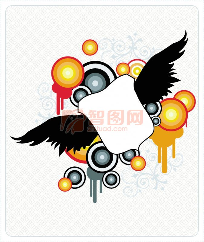首页 矢量专区 底纹边框 花纹花边  关键词: 圆形素材 黑色翅膀 橙色