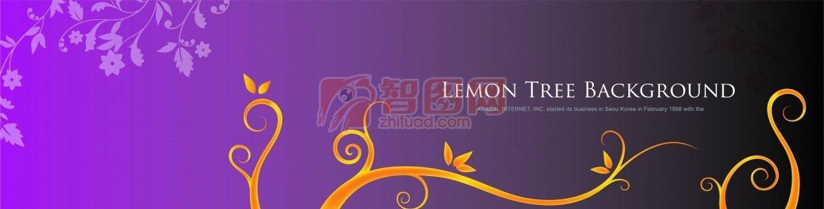 流行花纹 紫色背景 金色花枝