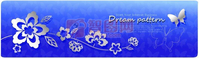 蓝色背景花纹素材