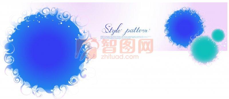 藍色花紋元素