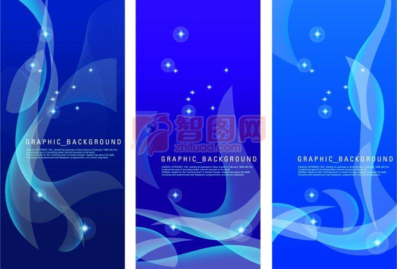 藍色背景花紋元素