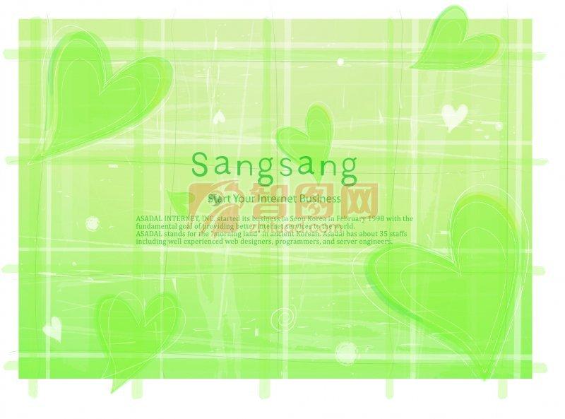 綠色背景心形花紋海報