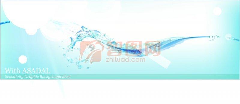 花纹花边  关键词: 蓝色背景 水蓝色背景 水的素材 水元素 白色圆形
