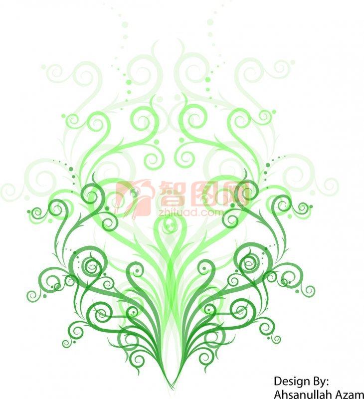 绿色渐变花纹设计