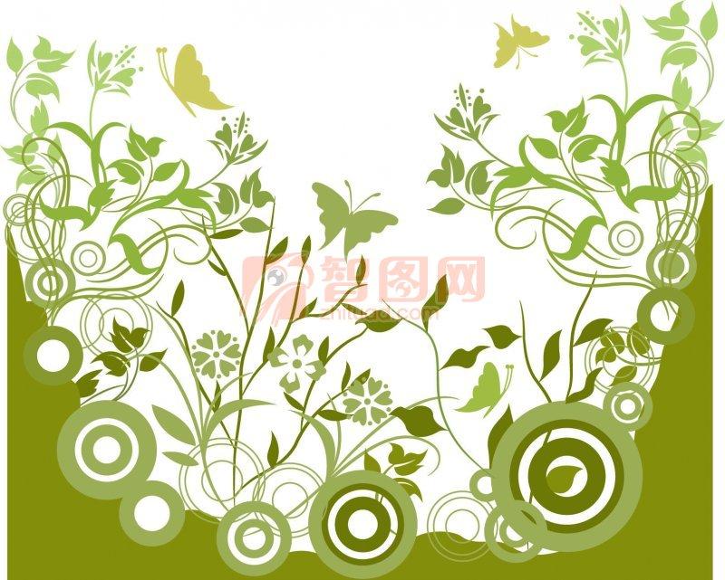 灰绿色花纹设计