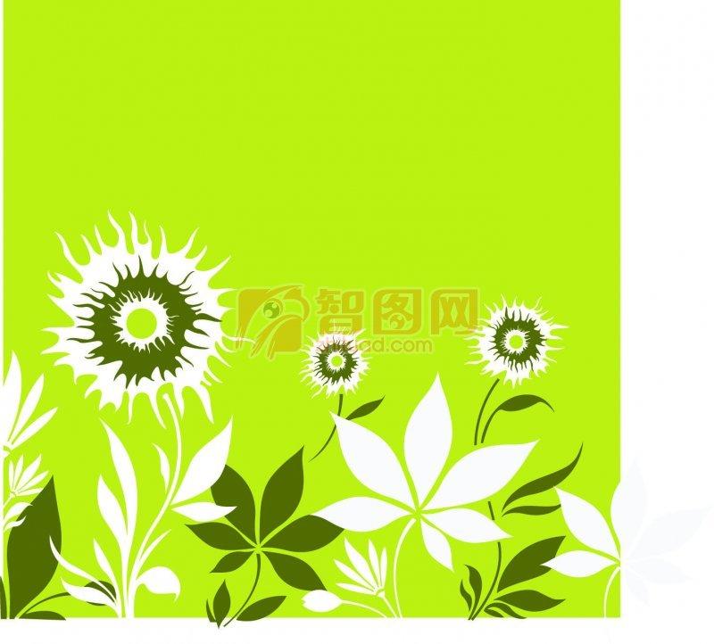 关键词: 绿色背景 白色线条 黑色素材 花纹设计 白色边框 说明:-绿色