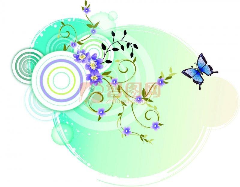 淡彩花纹元素