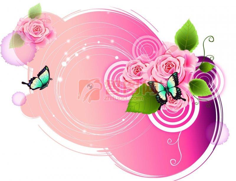 关键词: 粉色玫瑰花 粉色区域 绿色叶子 绿色蝴蝶 圆圈素材 花纹设计