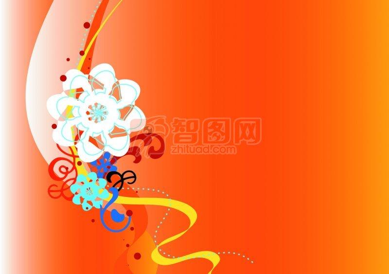 橘黃色背景花紋設計
