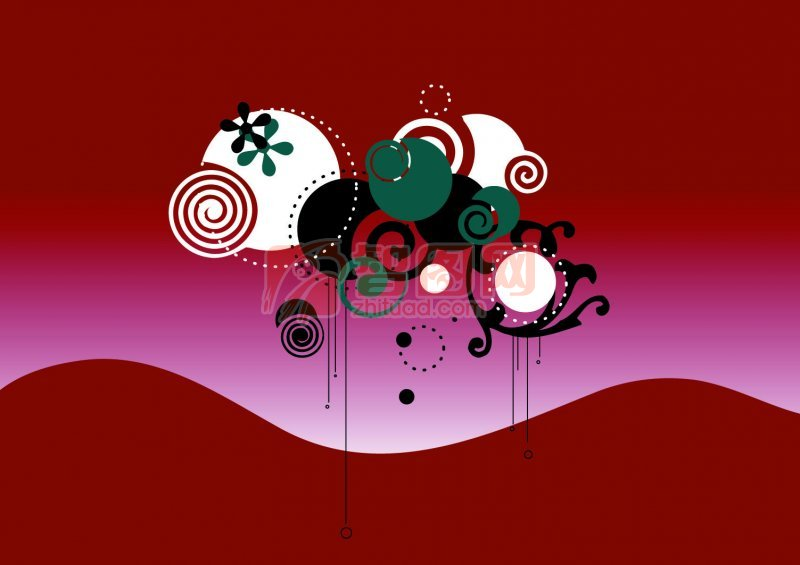 深紅色背景花紋設計