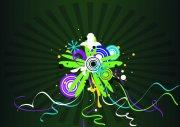 深綠色背景花紋設計