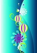藍色背景花紋設計素材