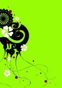 綠色背景花紋設計素材