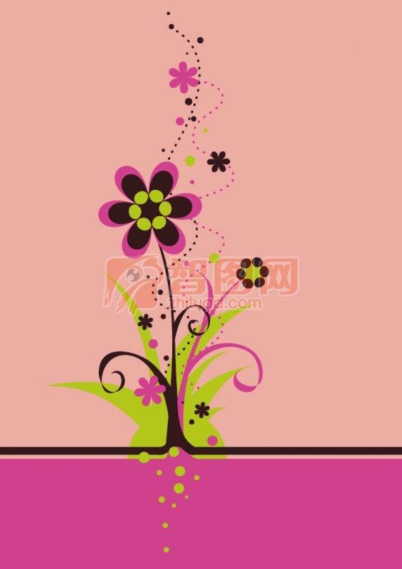 粉色背景裝飾花紋設計