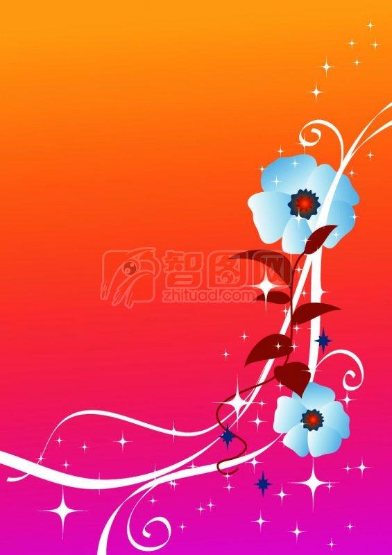 矢量专区 底纹边框 花纹花边  关键词: 蓝色鲜花 白色线条 橘红色背景