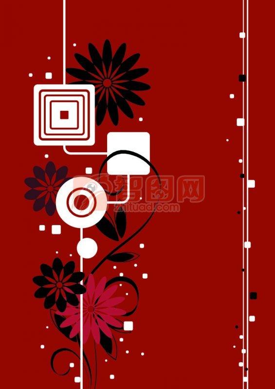 紅色背景花紋設計