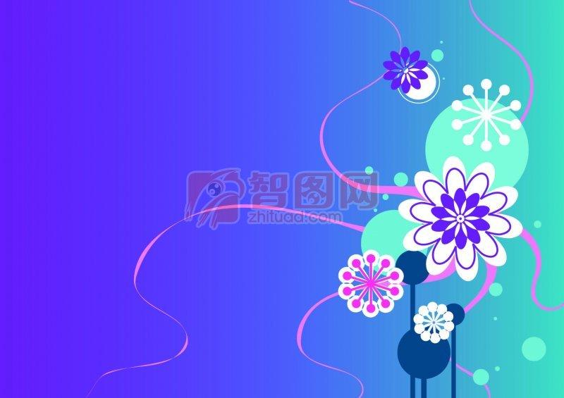 藍色漸變背景花紋素材