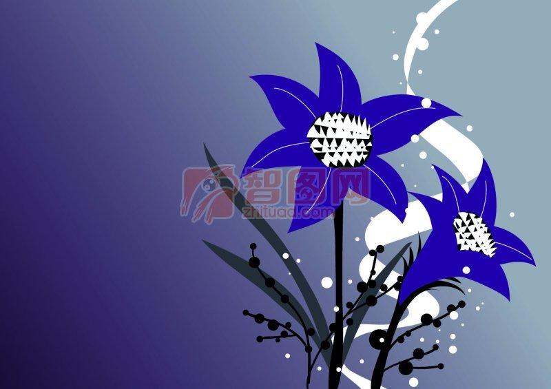 【psd】深蓝色背景花纹设计