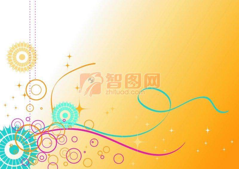 黃色背景花紋設計
