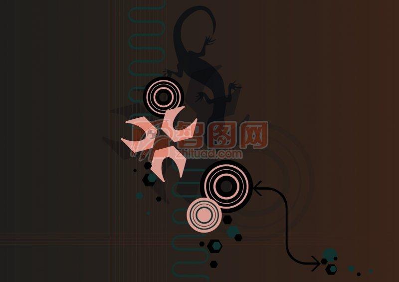 【psd】棕黑色背景花纹设计