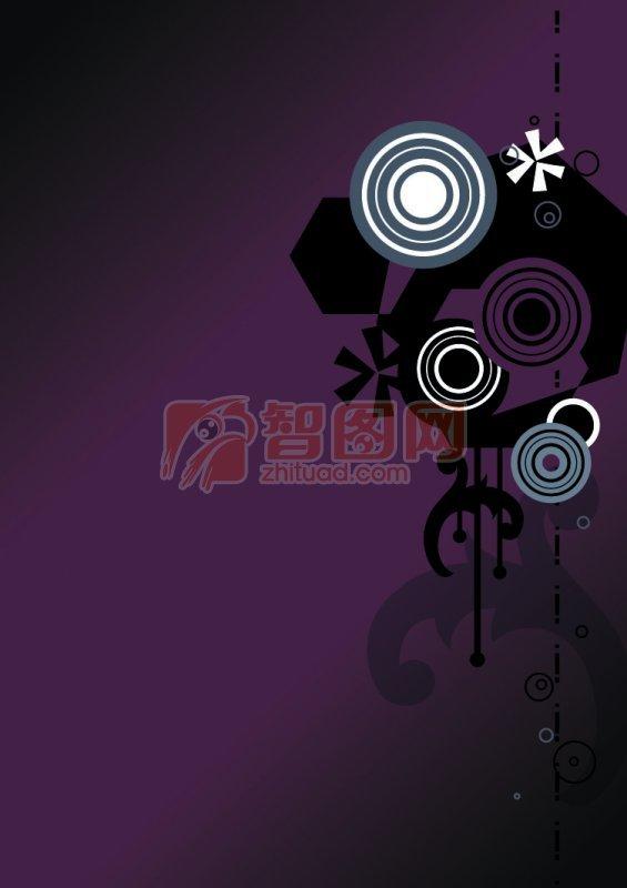 紫黑色背景花紋設計