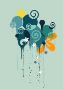 青灰色背景花紋設計