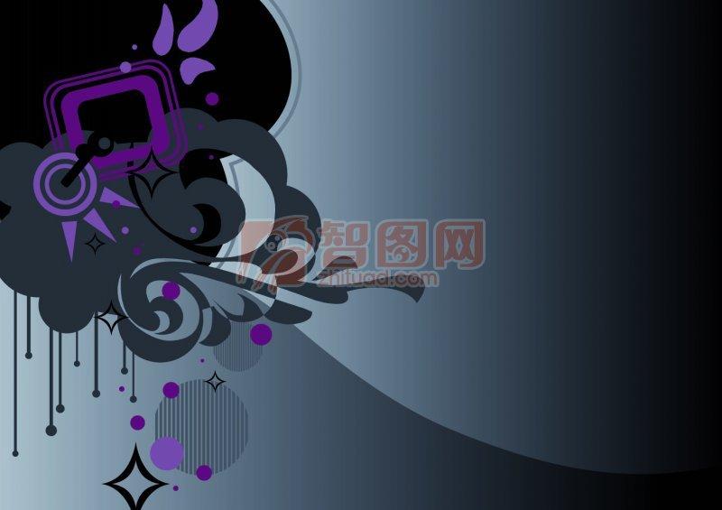 【psd】墨色背景花纹设计