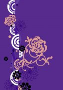 深紫色背景花紋設計