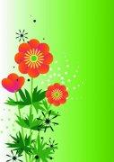 桔紅色花朵花紋設計