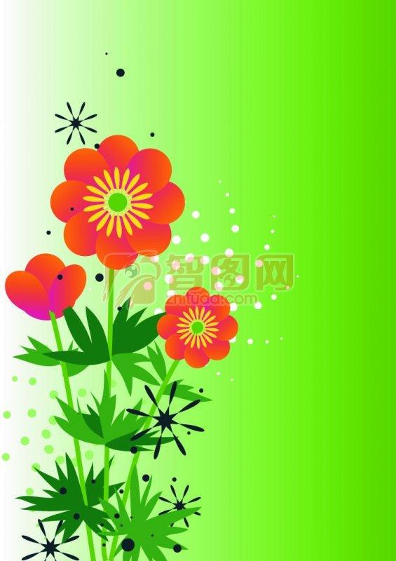 【psd】桔红色花朵花纹设计