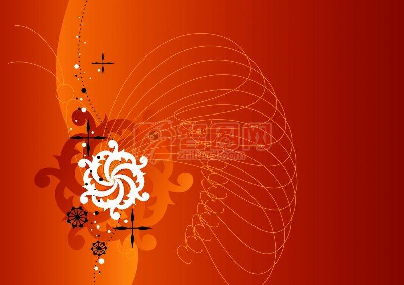 桔紅色花紋設計