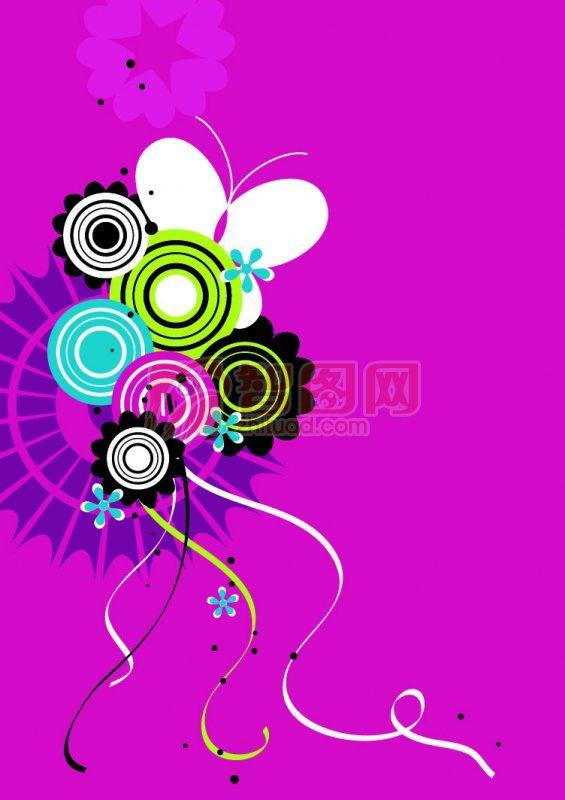 紫色背景花紋設計