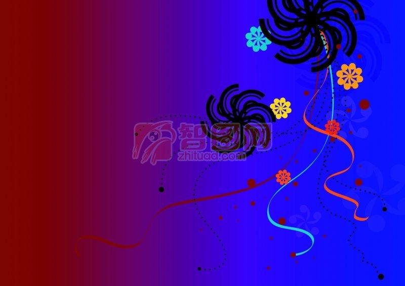 深色背景花紋設計