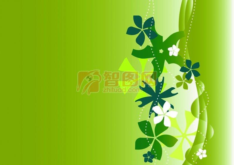 綠色背景花紋設計