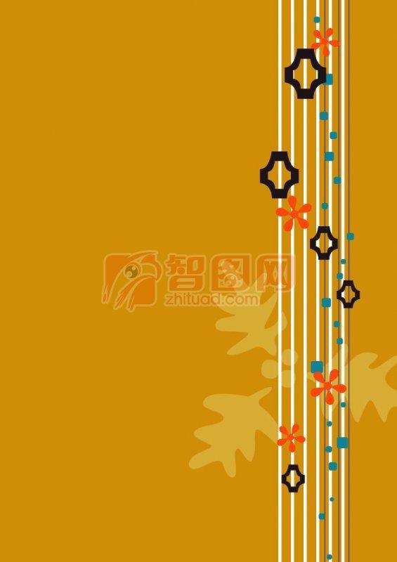 棕色背景花紋設計